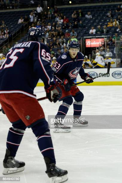 Columbus Blue Jackets defenseman Gabriel Carlsson and Columbus Blue Jackets defenseman Markus Nutivaara plan their strategy in the first period of a...