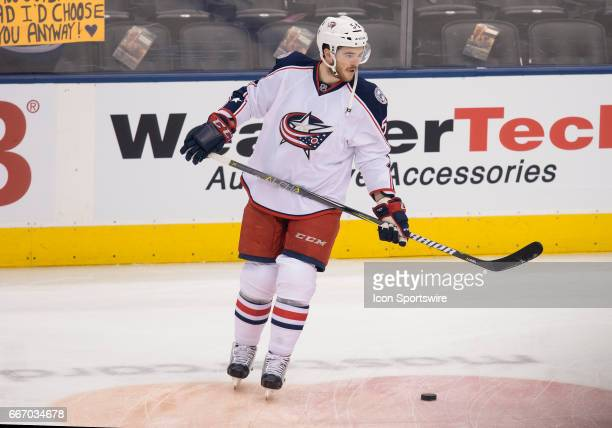 Columbus Blue Jackets defenseman Scott Harrington skates during the warm up before a game against the Toronto Maple Leafs on April 9 at Air Canada...