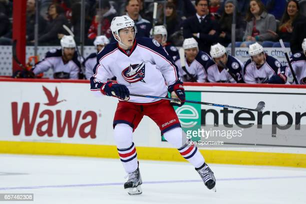 Columbus Blue Jackets defenseman Zach Werenski skates during the second period of the National Hockey League game between the New Jersey Devils and...