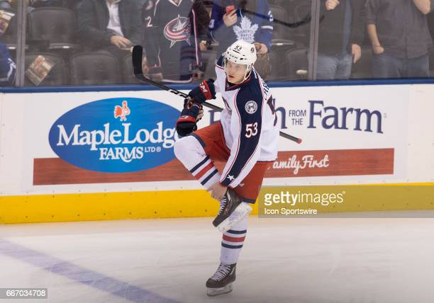 Columbus Blue Jackets defensemen Gabriel Carlsson skates during the warm up before a game against the Toronto Maple Leafs on April 9 at Air Canada...