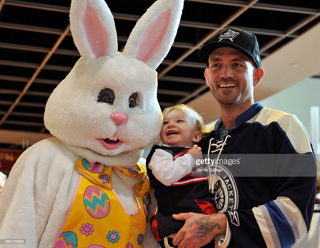 Columbus Blue Jackets fans pose for a photo with the Easter Bunny before the game between the Anaheim Ducks and the Columbus Blue Jackets on March 31, 2013 at Nationwide Arena in Columbus, Ohio.