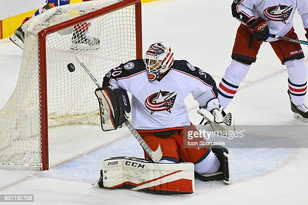 Columbus Blue Jackets goalie Curtis McElhinney makes a save in the third period against the Washington Capitals on January 5 at the Verizon Center in...