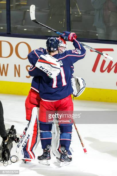 Columbus Blue Jackets goalie Sergei Bobrovsky and Columbus Blue Jackets left wing Nick Foligno celebrate after the game between the Columbus Blue...