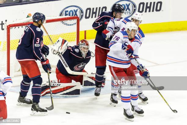 Columbus Blue Jackets goalie Sergei Bobrovsky blocks a shot during the second period in a game between the Columbus Blue Jackets and the New York...