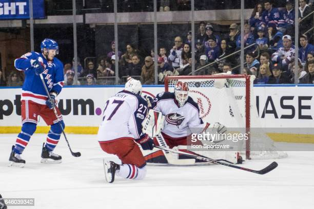 Columbus Blue Jackets Goalie Sergei Bobrovsky deflects a shot of goal during the first period of a Metropolitan Divisional matchup between the...