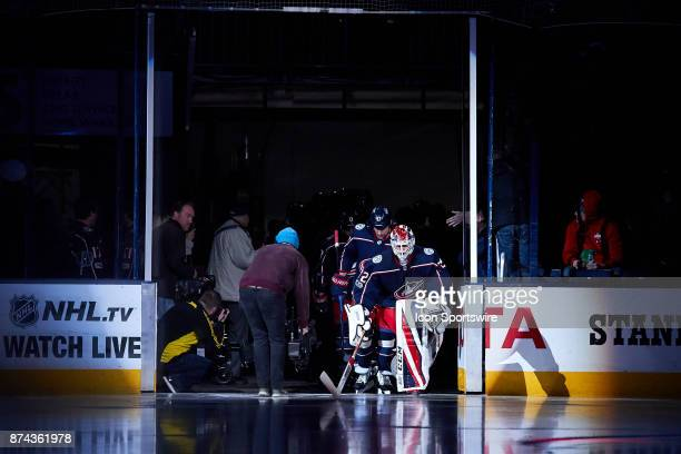 Columbus Blue Jackets goalie Sergei Bobrovsky enters the ice before a game between the Columbus Blue Jackets and the Caroling Hurricanes on November...
