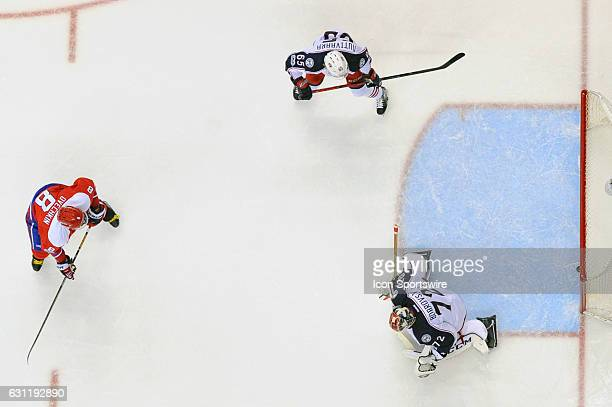 Columbus Blue Jackets goalie Sergei Bobrovsky gives up a goal in the second period as Washington Capitals left wing Alex Ovechkin skates in on...