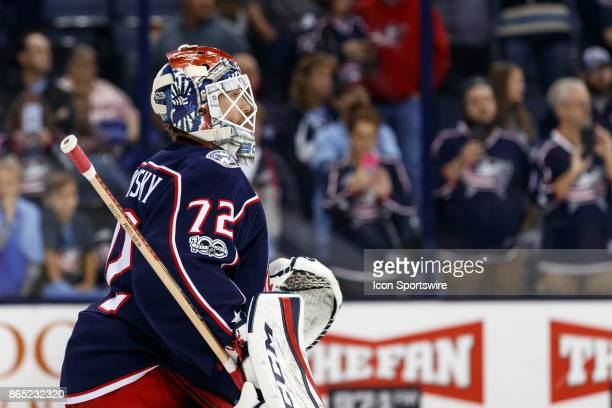 Columbus Blue Jackets goalie Sergei Bobrovsky looks on during warmups before a game between the Columbus Blue Jackets and the Los Angeles Kings on...