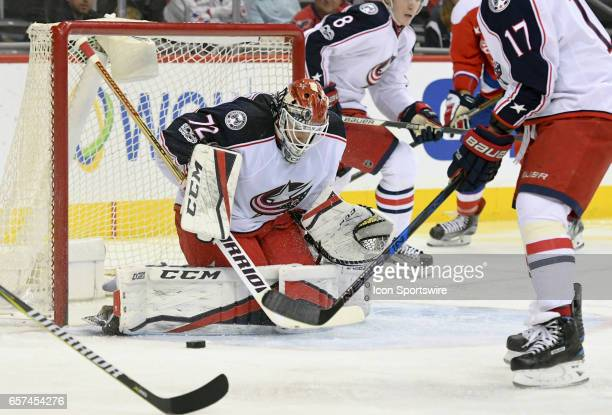 Columbus Blue Jackets goalie Sergei Bobrovsky makes a first period save on shot by the Washington Capitals on March 23 at the Verizon Center in...