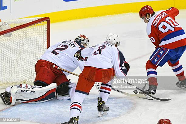 Columbus Blue Jackets goalie Sergei Bobrovsky makes a save in the third period on a shot by Washington Capitals left wing Marcus Johansson on January...