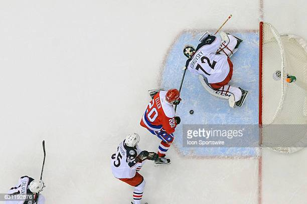Columbus Blue Jackets goalie Sergei Bobrovsky makes a second period save on a shot by Washington Capitals center Lars Eller on January 5 at the...
