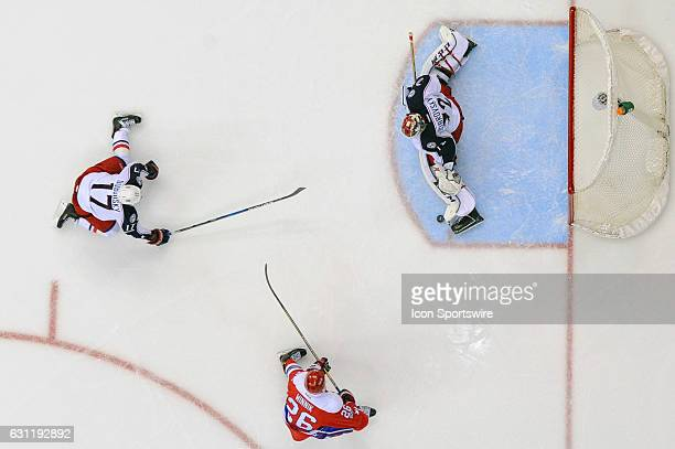 Columbus Blue Jackets goalie Sergei Bobrovsky makes a second period save on a shot by Washington Capitals left wing Daniel Winnik on January 5 at the...