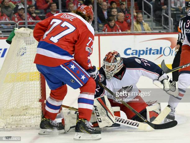 Columbus Blue Jackets goalie Sergei Bobrovsky makes a second period save on a shot by Washington Capitals right wing TJ Oshie on March 23 at the...