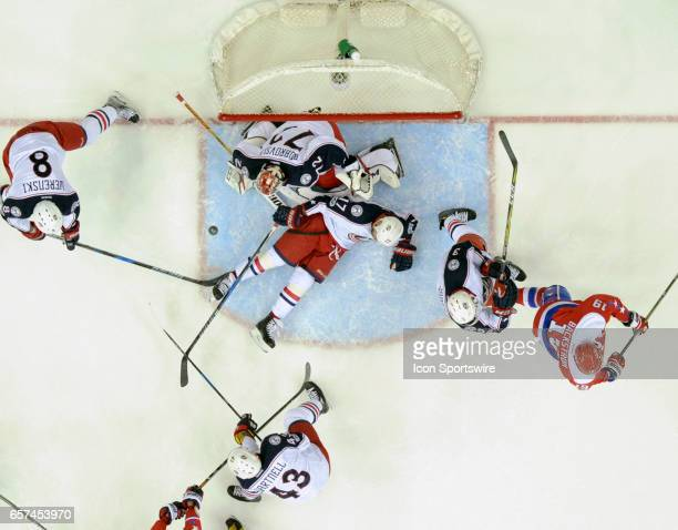 Columbus Blue Jackets goalie Sergei Bobrovsky makes a second period save on a shot by Washington Capitals center Nicklas Backstrom on March 23 at the...