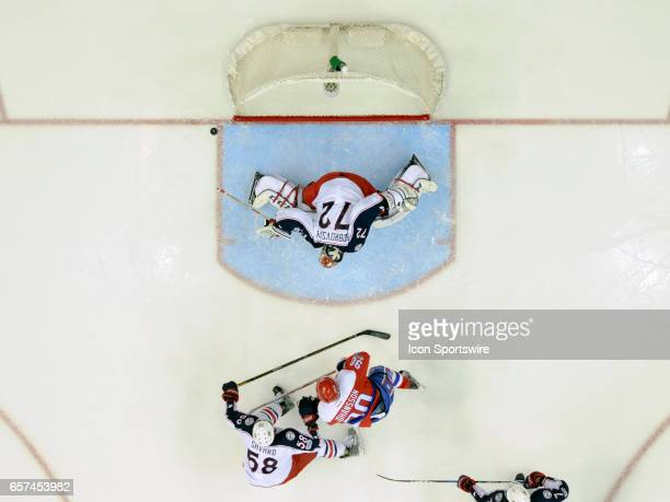 Columbus Blue Jackets goalie Sergei Bobrovsky makes a second period save on a shot by Washington Capitals left wing Marcus Johansson on March 23 at...