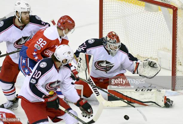 Columbus Blue Jackets goalie Sergei Bobrovsky makes a third period save on a shot by Washington Capitals center Evgeny Kuznetsov on March 23 at the...