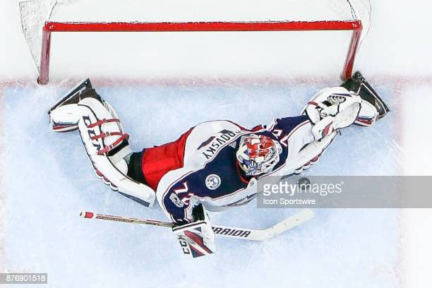 Columbus Blue Jackets Goalie Sergei Bobrovsky makes save during the Columbus Blue Jackets and Buffalo Sabres NHL game on November 20 at KeyBank...