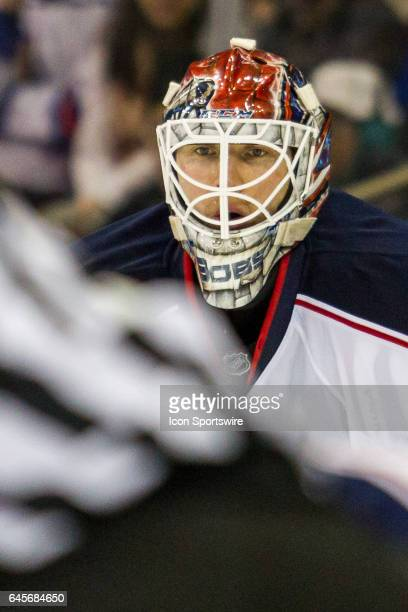 Columbus Blue Jackets Goalie Sergei Bobrovsky peers into a face off in the Blue Jackets zone during the first period of a Metropolitan Divisional...