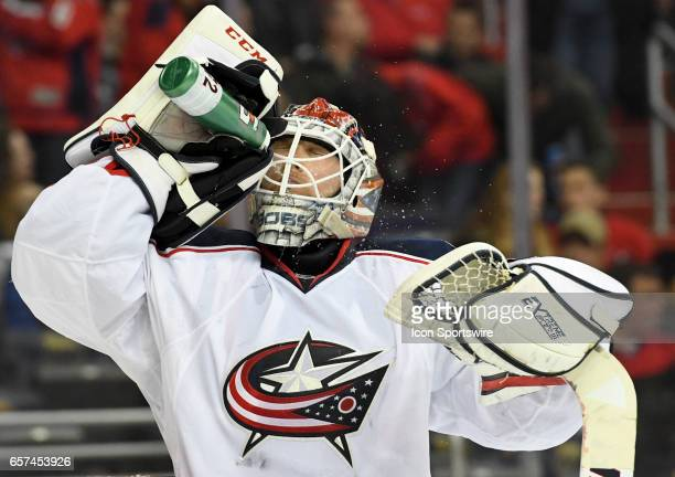 Columbus Blue Jackets goalie Sergei Bobrovsky pours water on his face during a break in the action on March 23 at the Verizon Center in Washington DC...