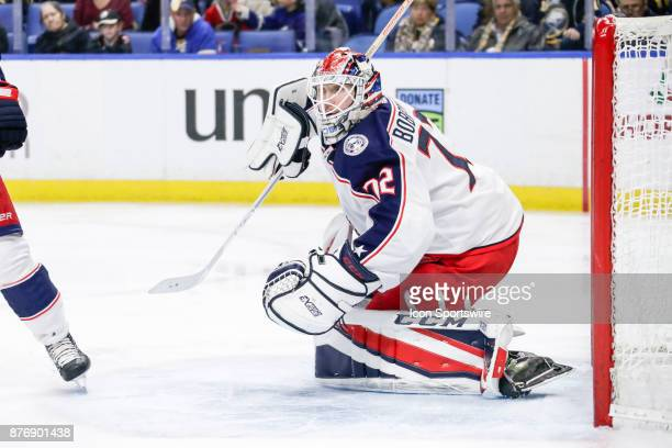 Columbus Blue Jackets Goalie Sergei Bobrovsky prepares to make save during the Columbus Blue Jackets and Buffalo Sabres NHL game on November 20 at...