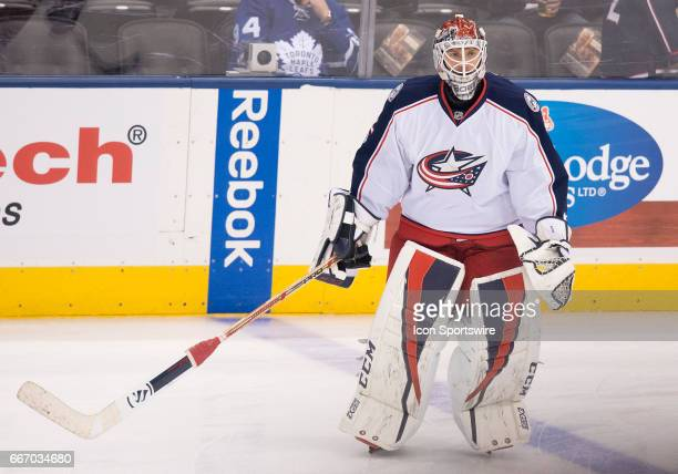 Columbus Blue Jackets goalie Sergei Bobrovsky skates during the warm up before a game against the Toronto Maple Leafs on April 9 at Air Canada Centre...