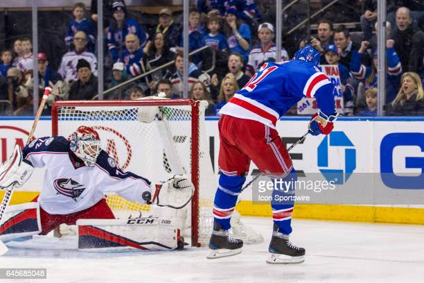 Columbus Blue Jackets Goalie Sergei Bobrovsky stop a second chance shot from New York Rangers Right Wing Rick Nash during the first period of a...