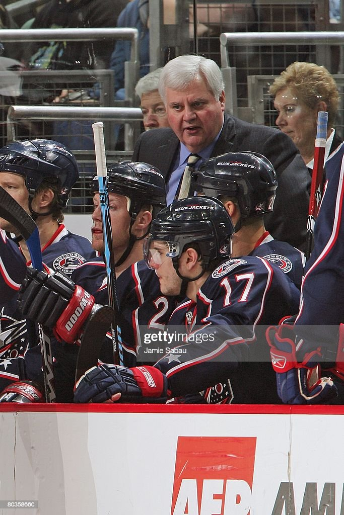 Columbus Blue Jackets Head Coach Ken Hitchcock addresses his players during an early timeout in a game against the Detroit Red Wings on March 22 2008...