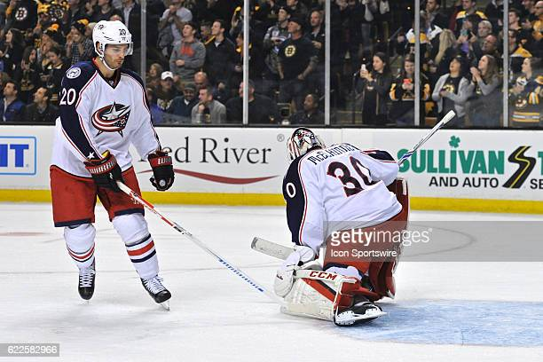 Columbus Blue Jackets Left Wing Brandon Saad gives Columbus Blue Jackets Goalie Curtis McElhinney a good luck tap on the pads During the Columbus...