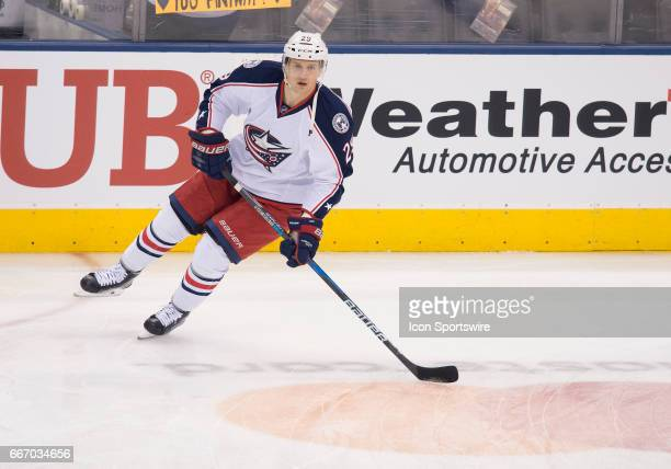 Columbus Blue Jackets left wing Lauri Korpikoski skates during the warm up before a game against the Toronto Maple Leafs on April 9 at Air Canada...
