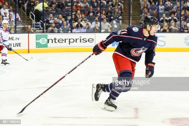 Columbus Blue Jackets left wing Matt Calvert skates up the ice after the puck during the first period in a game between the Columbus Blue Jackets and...