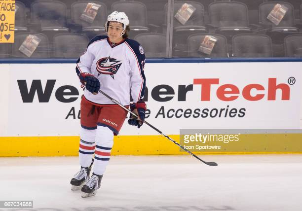 Columbus Blue Jackets left wing Sonny Milano skates during the warm up before a game against the Toronto Maple Leafs on April 9 at Air Canada Centre...