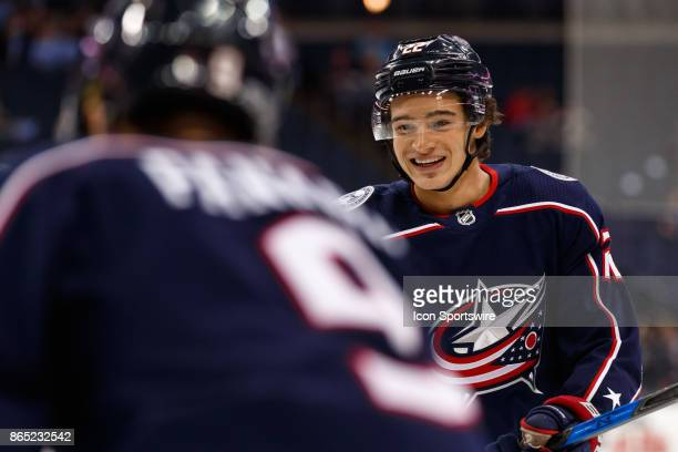 Columbus Blue Jackets left wing Sonny Milano smiles during warmups before a game between the Columbus Blue Jackets and the Los Angeles Kings on...