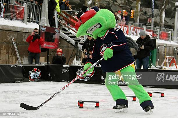 Columbus Blue Jackets mascot Stinger attends the Canadian Tire NHL Junior Skills competition as part of the NHL AllStar weekend at Rideau Canal...