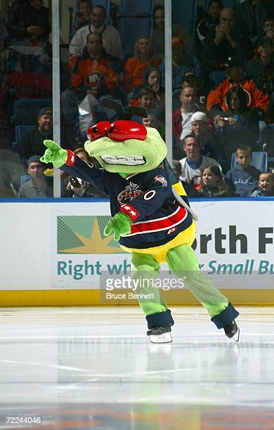 Columbus Blue Jackets mascot Stinger performs before game action between the Carolina Hurricanes and the New York Islanders on October 21 2006 at the...