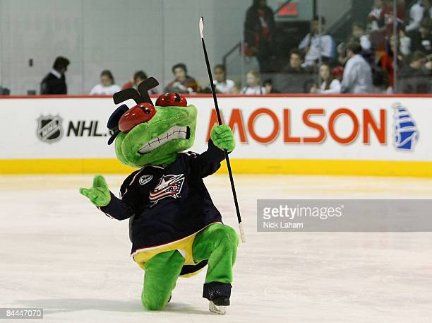 Columbus Blue Jackets mascot Stinger performs on the ice during the NHL All Star Mascot Breakfast at the Bell Centre Sports Complex on January 25...