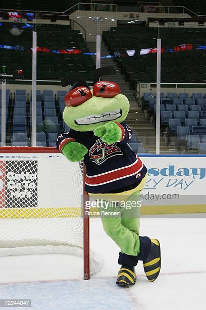 Columbus Blue Jackets mascot Stinger poses for a portrait on October 21 2006 at the Nassau Coliseum in Uniondale New York