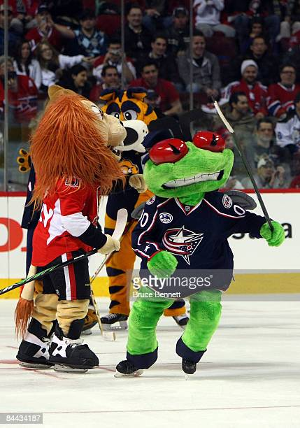 Columbus Blue Jackets mascot Stinger skates on the ice during the McDonalds/NHL AllStar open practice as part of the 2009 NHL AllStar weekend on...