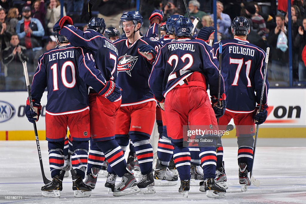 Columbus Blue Jackets players celebrate after a 4-3 shootout win over the Edmonton Oilers on March 5, 2013 at Nationwide Arena in Columbus, Ohio.