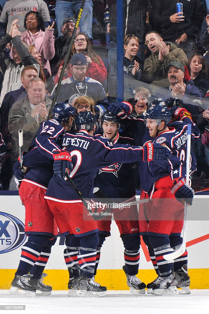 Columbus Blue Jackets players celebrate after scoring a goal against the Anaheim Ducks during the second period on March 31, 2013 at Nationwide Arena in Columbus, Ohio.