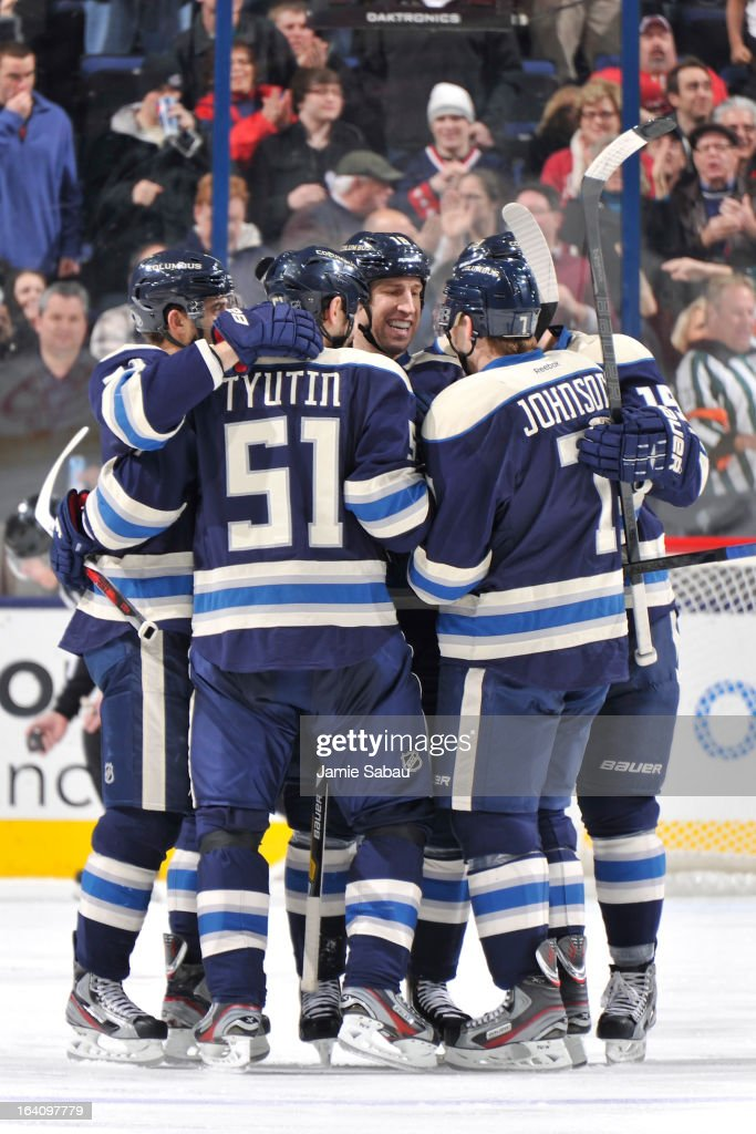 Columbus Blue Jackets players celebrate their first goal against the Nashville Predators in the second period on March 19, 2013 at Nationwide Arena in Columbus, Ohio.