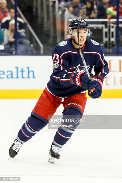 Columbus Blue Jackets right wing Cam Atkinson skates up the ice after the puck during the first period in a game between the Columbus Blue Jackets...