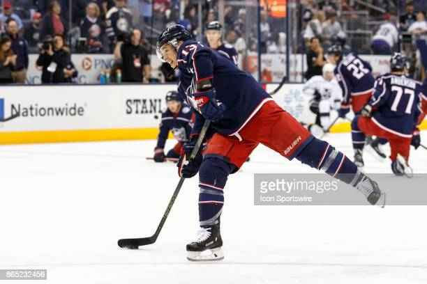 Columbus Blue Jackets right wing Cam Atkinson takes a practice shot during warmups before a game between the Columbus Blue Jackets and the Los...
