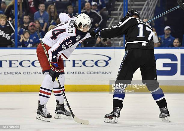 Columbus Blue Jackets right wing Josh Anderson and Tampa Bay Lightning left wing Alex Killorn fight during the first period of an NHL game between...