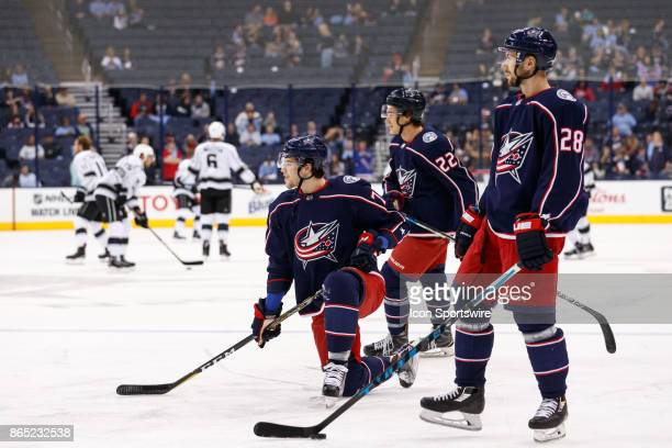 Columbus Blue Jackets right wing Josh Anderson Columbus Blue Jackets left wing Sonny Milano and Columbus Blue Jackets right wing Oliver Bjorkstrand...