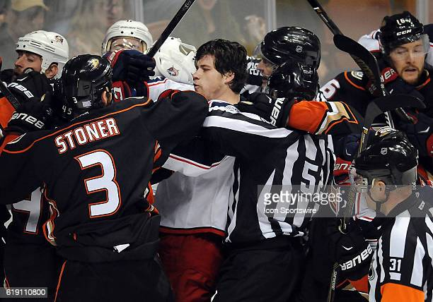 Columbus Blue Jackets right wing Josh Anderson in the middle of a fight without his helmet in the first period of a game against the Anaheim Ducks...