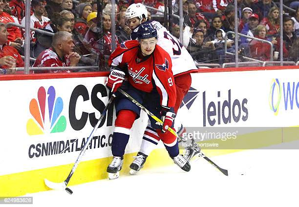 WASHINGTON DC NOVEMBER Columbus Blue Jackets right wing Josh Anderson misses a check on Washington Capitals defenseman Dmitry Orlov during a NHL game...