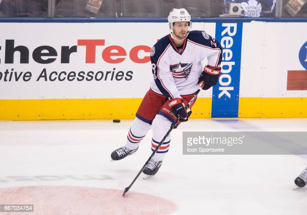 Columbus Blue Jackets right wing Oliver Bjorkstrand skates during the warm up before a game against the Toronto Maple Leafs on April 9 at Air Canada...