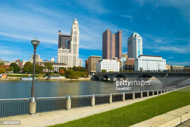Columbus city skyline and river view