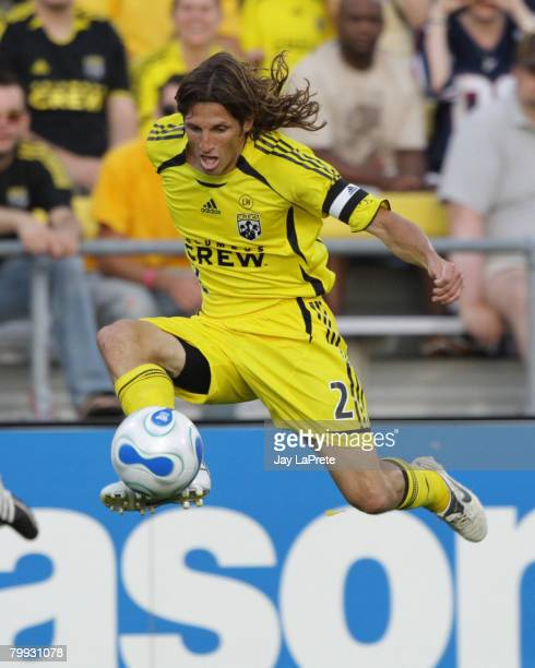 Columbus Crew defender Frankie Hejduk plays the ball out of the air during the New York Red Bulls vs Columbus Crew match June 30 2007 at Crew Stadium...