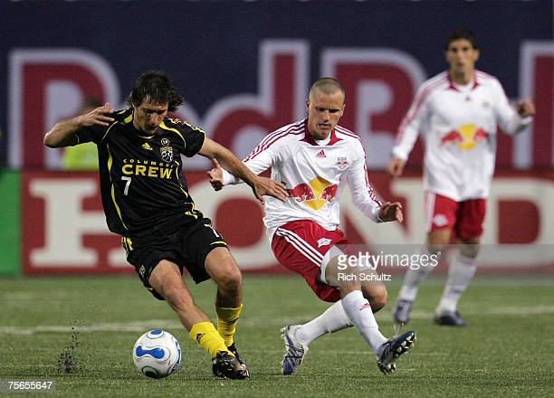 Columbus Crew's Guillermo Barros Schelotto fights off New York Red Bulls Seth Stammler in an MLS game at Giants Stadium in the Meadowlands on May 19...